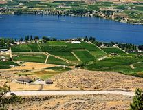 Fields of Plenty. Taken from the Grand Forks side of Osoyoos, B.C. from the roadside lookout. Spectacular views stock photos