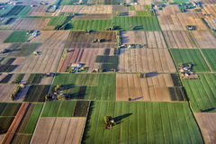 Fields of Po Valley - aerial view in evening light. Aerial view  agricultural land. Autumn fields at Po Valley near Bologna, Italy Royalty Free Stock Photo