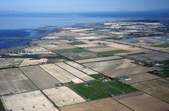 Fields and ranches by the sea. Aerial view of Richmond, British Columbia, Canada Stock Photo