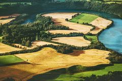 Fields and river aerial view rural Landscape. In Norway nature ecology concept Stock Image