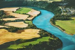Fields and river aerial view rural Landscape. Nature ecology concept Royalty Free Stock Image