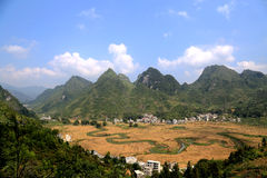The fields and river in bama villiage ,guangxi, china Royalty Free Stock Photo