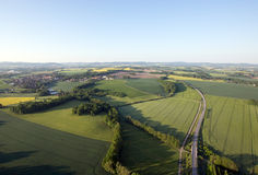 Fields and roads from above Royalty Free Stock Photography