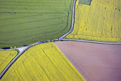 Fields and roads from above Royalty Free Stock Image