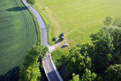 Fields and roads from above Royalty Free Stock Photos