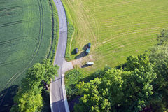 Fields and roads from above. In Saxony, Germany Royalty Free Stock Photos