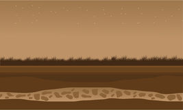 Fields scenery brown backgrounds game. Vector illustration Stock Photo