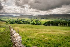 Fields and sheep on farm land in a valley with rain clouds royalty free stock images
