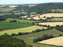 Fields in the South Downs National Park. A patchwork of agricultural fields stretching across the South Downs towards the Solent in Hampshire stock photos