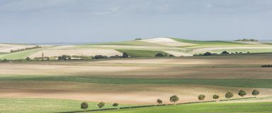Farmer Fields near Epernay France. Fields with sun and shadows near Epernay and Monthelon, France Stock Photography