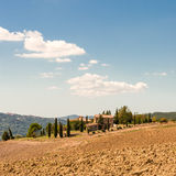 Fields in Tuscany. A red Fields in Tuscany royalty free stock images