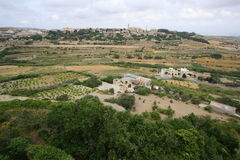 Fields and villages in Malta Stock Photo
