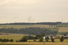 The fields and windmills. Royalty Free Stock Photography