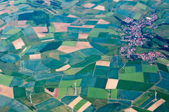 Fields,Windmills,Town in Germany Stock Images