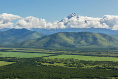 Fields of the Yelizovsky District in Kamchatka Peninsula. Royalty Free Stock Photography