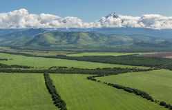 Fields of the Yelizovsky District in Kamchatka Peninsula. Royalty Free Stock Images