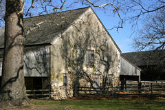 Fieldstone Stable - New Jersey. The old fruit tree casts long shadows across this colonial stable Royalty Free Stock Photo