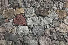 Fieldstone-wall of a barn Stock Photo
