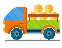 Fieno di trasporto dell'automobile in un'illustrazione di vettore del rimorchio Fotografia Stock