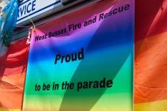 Fier d'être dans la fierté homosexuelle 2011 de Brighton Photos stock