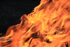 Fier4. Fire flames on a black background Stock Photos