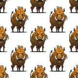Fierce angry wild boar or warthog seamless pattern. Standing glaring at the viewer with its sharp tusks, repeat motif in square format Royalty Free Stock Image