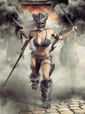 Fierce Armed Barbarian Female Warriors Charging Into Battle With There Leader In Front . Stock Images