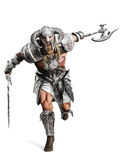Fierce armored barbarian warrior running into battle on an isolated white background. Royalty Free Stock Photo