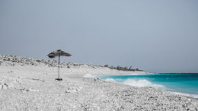 Fierce. Beautiful secluded beach in Albanian riviera on a windy day royalty free stock images