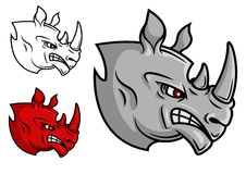 Fierce cartoon rhino head. With glaring eyes in profile in three variations, isolated on white Royalty Free Stock Photos