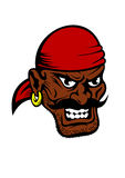 Fierce dark-skinned cartoon pirate character. Fierce dark-skinned cartoon pirate wearing a red bandanna and earring in his ear with a black moustache and toothy Royalty Free Stock Photo
