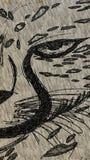 Fierce. Favorite animal art black and white pen royalty free stock photo
