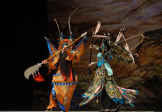 """Fierce fighting- Beijing Opera"""" Women Generals of Yang Family"""". This opera tells a patriotic story how does an old woman of a hundred years old go Royalty Free Stock Image"""
