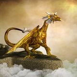 The fierce golden dragon. Scary golden dragon sitting on a rock in acloudy scenery - 3D illustration royalty free illustration