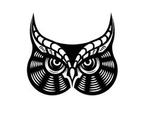 Fierce looking horned owl. Cartoon vector illustration in black and white of the face of a fierce looking horned owl Royalty Free Stock Photography