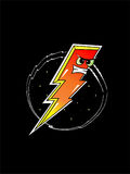 Fierce Thunderbolt. Fierce/ Red Lightening Symbol. Vector Image. Hand Drawn Stock Image