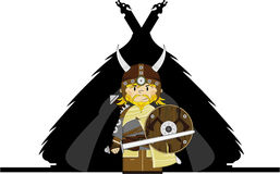 Fierce Viking and Hut. Vector illustration of a Norse Viking Warrior and Hut.  An EPS file is also available Stock Photography