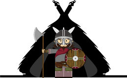 Fierce Viking and Hut. Vector illustration of a Norse Viking Warrior and Hut.  An EPS file is also available Royalty Free Stock Images