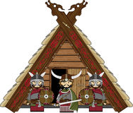 Fierce Viking and Hut. Vector illustration of a Norse Viking Warrior and Hut.  An EPS file is also available Stock Images