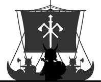 Fierce Viking and Ship Royalty Free Stock Images