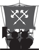 Fierce Viking and Ship Royalty Free Stock Image