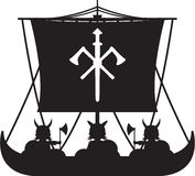 Fierce Viking and Ship Royalty Free Stock Photography