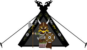 Fierce Viking and Tent. Vector illustration of a Norse Viking Warrior and Tent.  An EPS file is also available Royalty Free Stock Photo