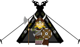 Fierce Viking and Tent. Vector illustration of a Norse Viking Warrior and Tent.  An EPS file is also available Stock Images