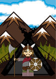 Fierce Viking and Tent. Vector illustration of a Norse Viking Warrior and Tent.  An EPS file is also available Stock Photos