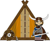 Fierce Viking and Tent. Vector illustration of a Norse Viking Warrior and Tent.nnAn EPS file is also available Royalty Free Stock Photography