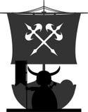 Fierce Vikings and Ship Royalty Free Stock Image