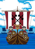 Fierce Vikings and Ship Royalty Free Stock Images