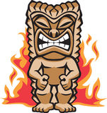 Fierce Warrior Tiki. Illustration of a strong tiki warrior amongst burning flames Stock Photo
