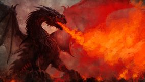 Free Fierce Winged Black Dragon Fantasy Illustration Stock Image - 166375511